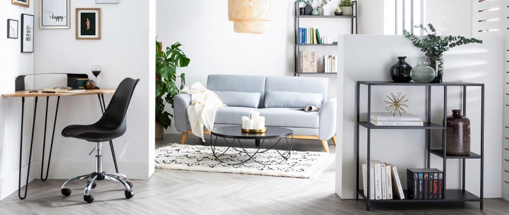 Sofá diseño 3 plazas tejido gris claro patas roble EKTOR