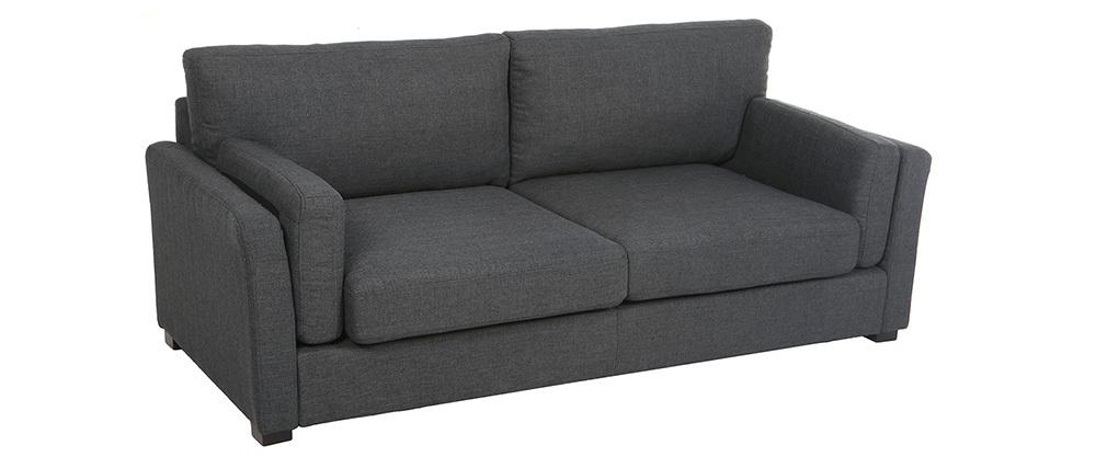 Sofá diseño 3 plazas tejido gris oscuro MILORD