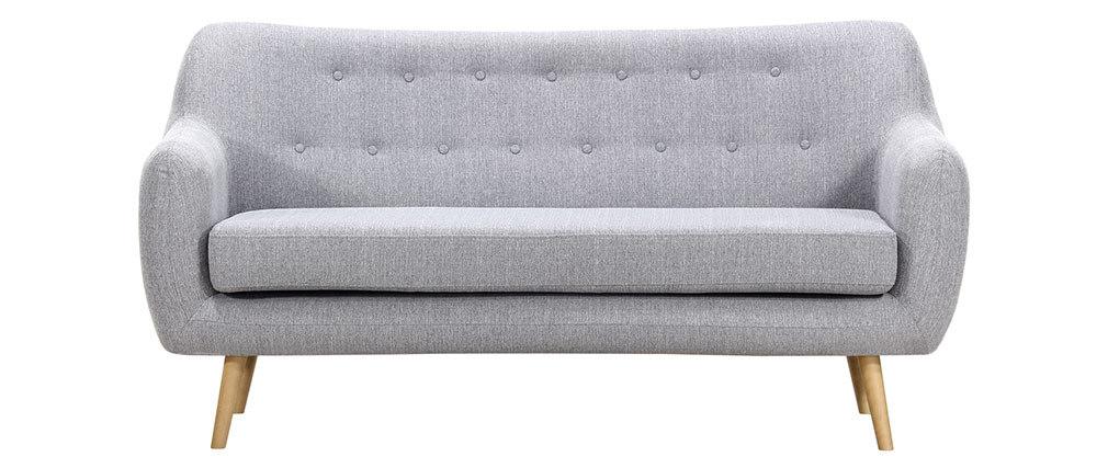 Sofá diseño 3 plazas tejido gris perla y patas madera clara  OLAF