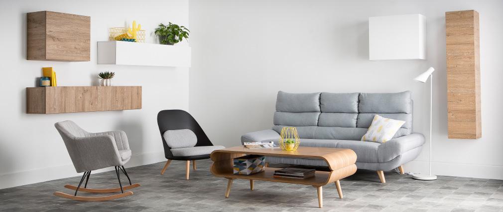 Sofá diseño escandinavo 3 plazas gris NORDIK