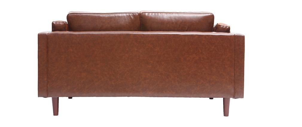 Sofá en cuero vintage 2 plazas marrón CURTIS