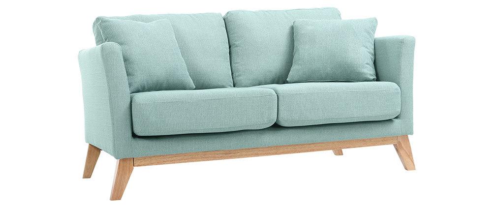 Sofá escandinavo 2 plazas azul claro y patas madera clara OSLO