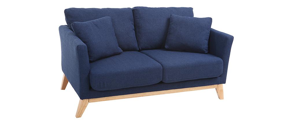 Sofá escandinavo 2 plazas azul oscuro y patas madera clara OSLO