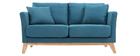 Sofá escandinavo 2 plazas azul petróleo y patas madera clara OSLO