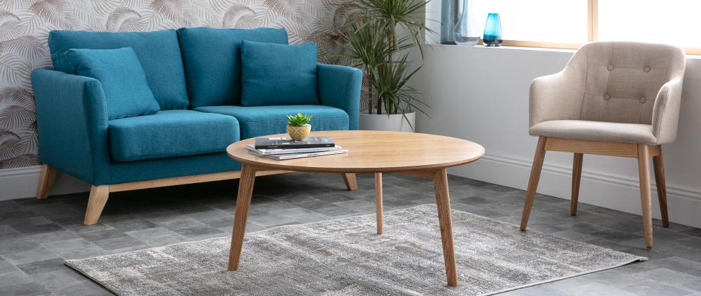 Sofá escandinavo 2 plazas gris claro y patas madera clara OSLO