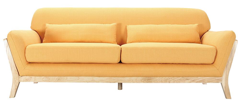 Sofá escandinavo 3 plazas amarillo patas madera YOKO