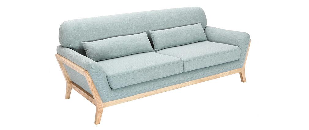 Sofá escandinavo 3 plazas azul claro patas madera YOKO