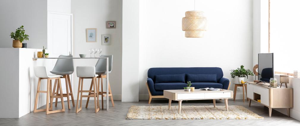 Sofá escandinavo 3 plazas azul marino patas madera YOKO