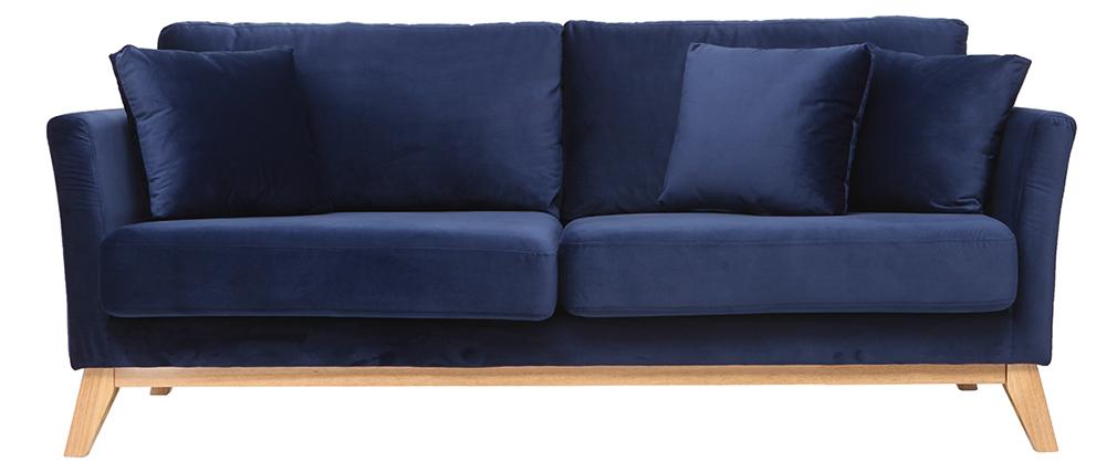 Sofá escandinavo 3 plazas terciopelo azul oscuro patas madera OSLO
