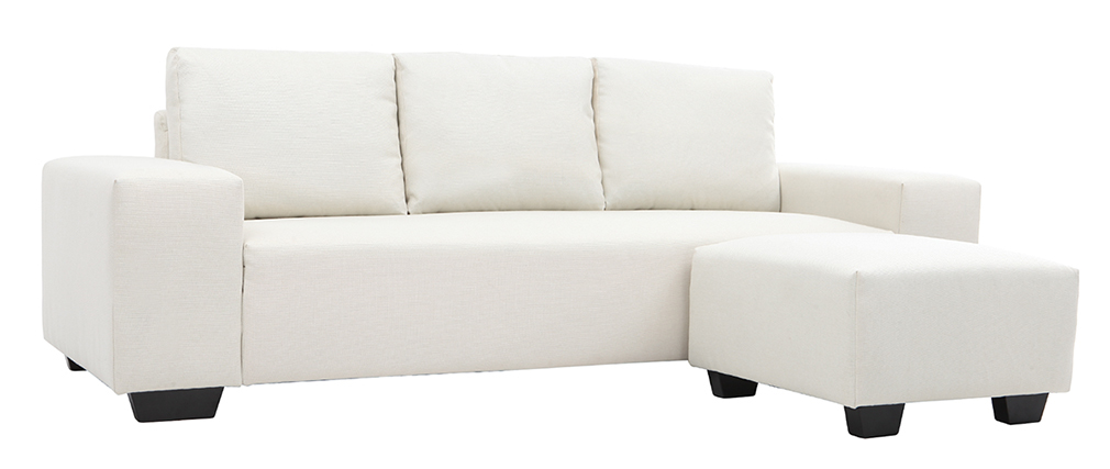 Sofá esquinero tejido color natural 3 plazas DEAUVILLE