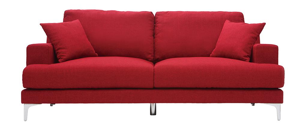 Sofá moderno 3 plazas en tejido rojo BOMEN