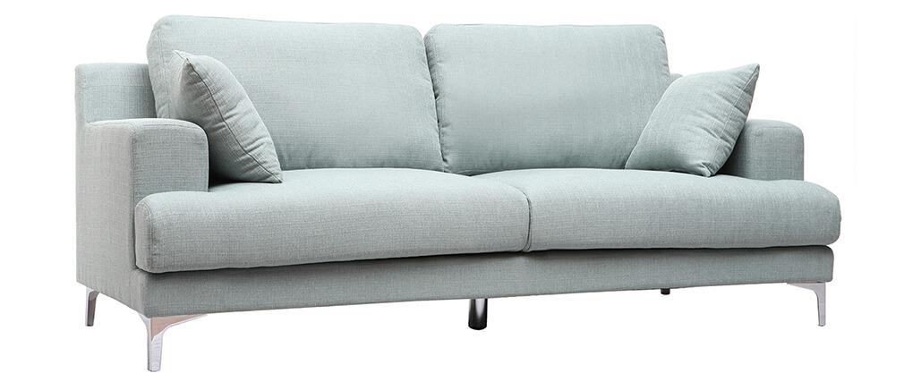 Sofá moderno 3 plazas tejido azul claro BOMEN