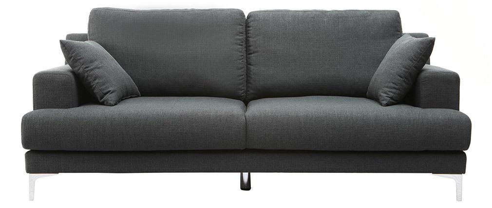 Sofá moderno 3 plazas tejido gris oscuro BOMEN