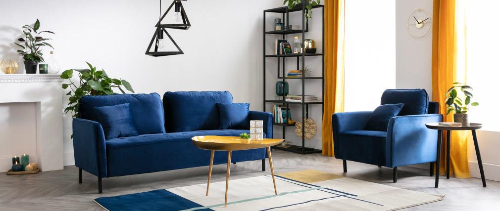 Sofá moderno en terciopelo azul 3 plazas BEKA
