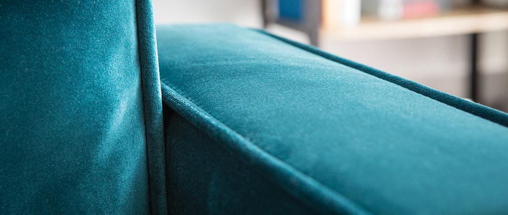 Sofá moderno terciopelo azul petróleo 3 plazas BROOKLYN
