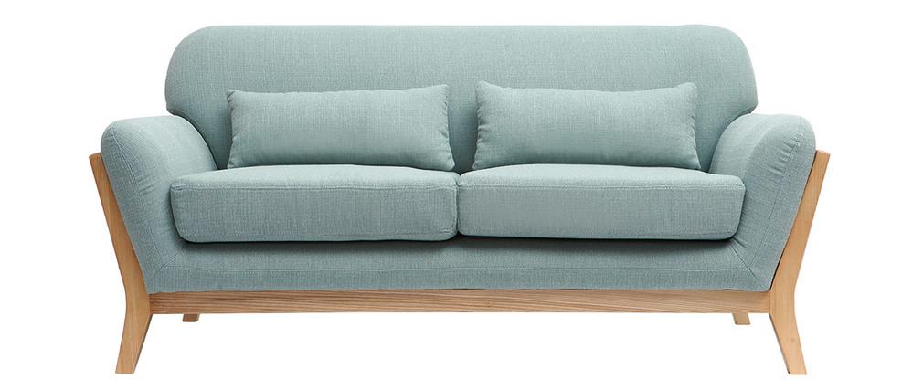 Sofá nórdico 2 plazas azul claro patas madera YOKO