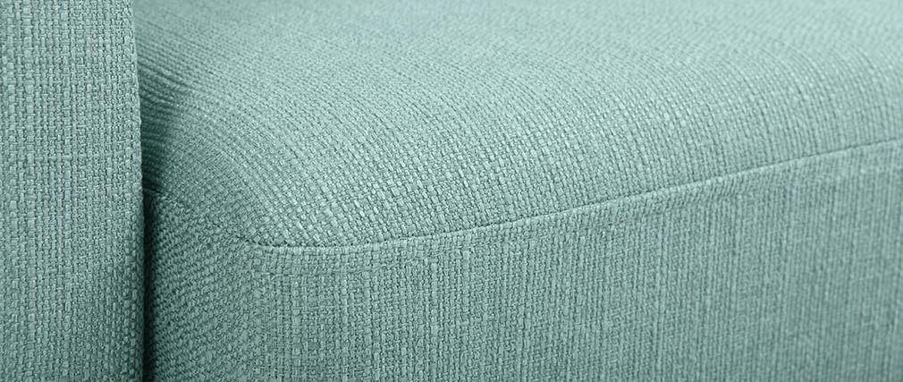 Sofá nórdico 2 plazas azul claro y patas madera clara OSLO