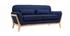 Sofá nórdico 2 plazas azul oscuro patas madera YOKO