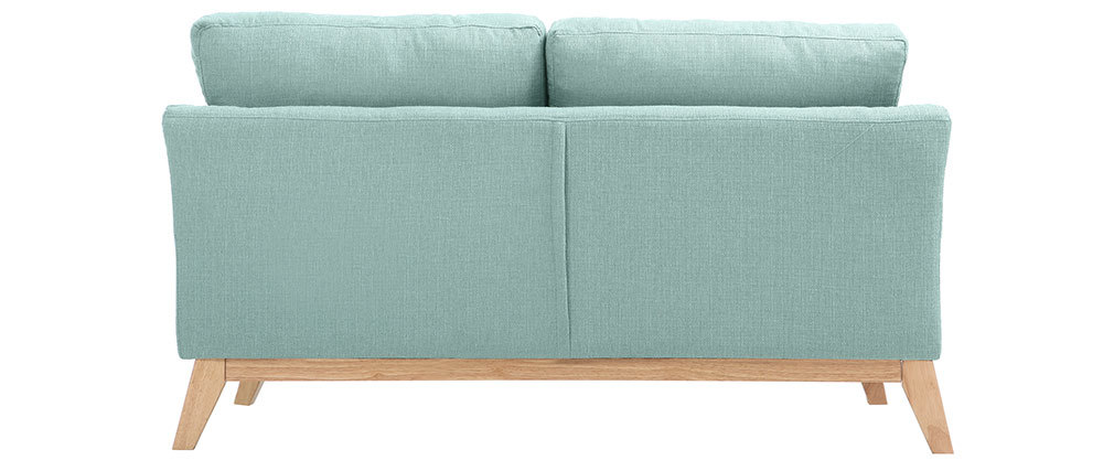 Sofá nórdico 2 plazas desenfundable  azul claro y patas madera clara OSLO
