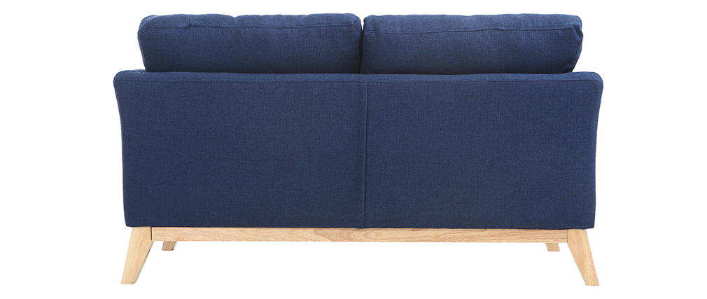 Sofá nórdico 2 plazas desenfundable  azul oscuro y patas madera clara OSLO