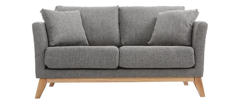 Sofá nórdico 2 plazas desenfundable  gris claro y patas madera clara OSLO