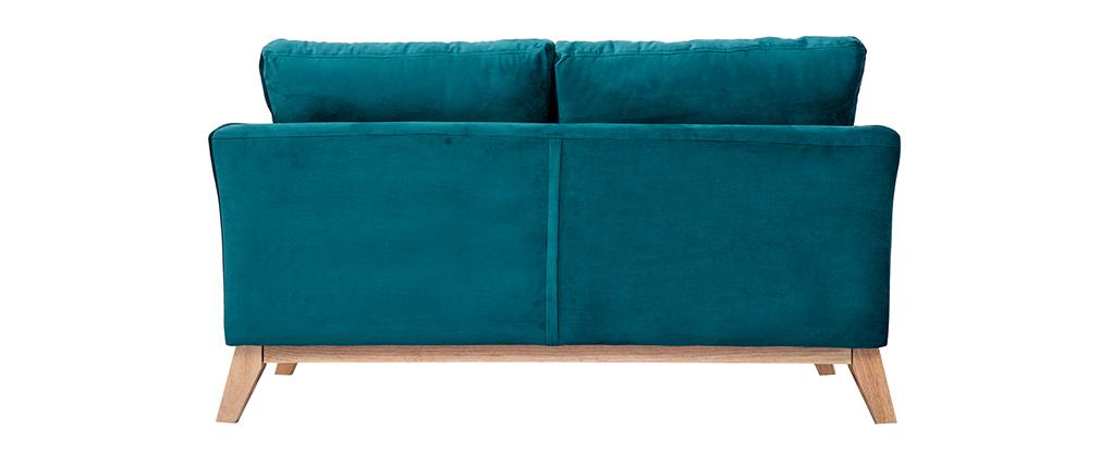 Sofá nórdico 2 plazas desenfundable terciopelo azul petróleo OSLO