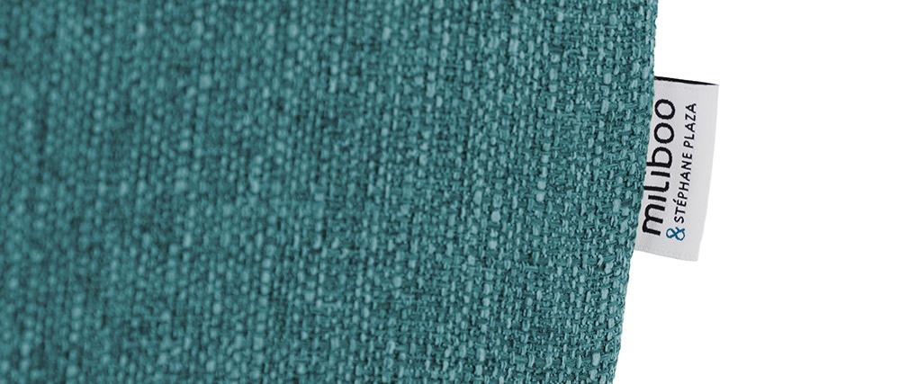 Sofá nórdico 2 plazas en tejido azul petróleo MOCAZ
