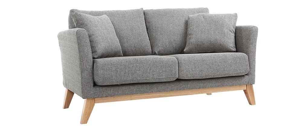Sofá nórdico 2 plazas gris claro y patas madera clara OSLO