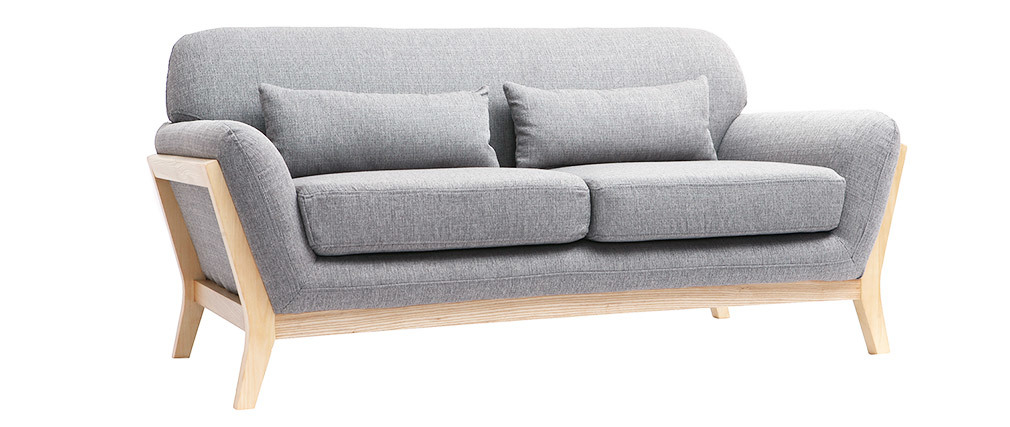Sofá nórdico 2 plazas gris patas madera YOKO