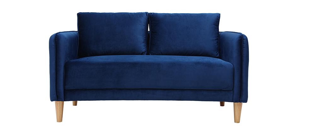 Sofá nórdico 2 plazas terciopelo azul KURT