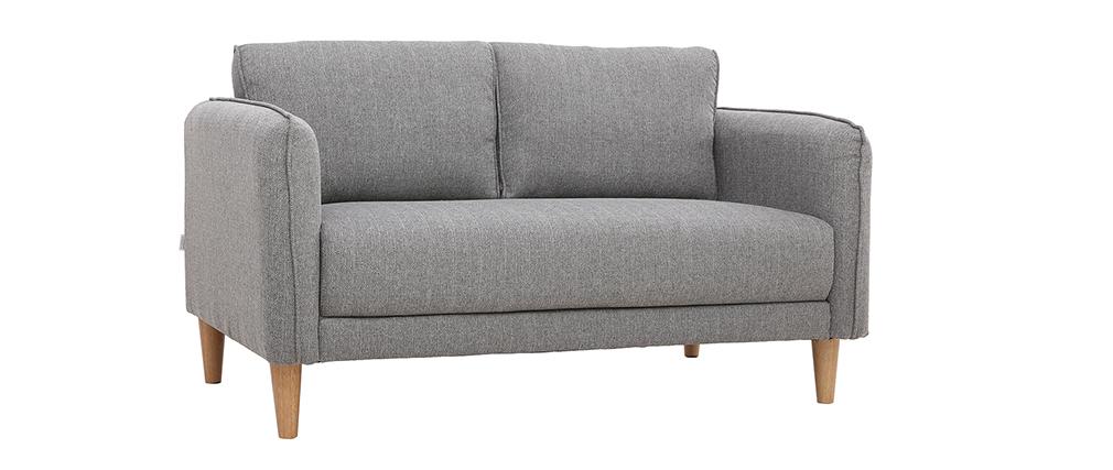 Sofá nórdico 2 plazas terciopelo gris claro KURT