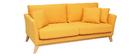 Sofá nórdico 3 plazas amarillo desenfundable patas madera OSLO