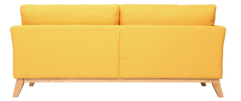 Sofá nórdico 3 plazas amarillo patas madera OSLO