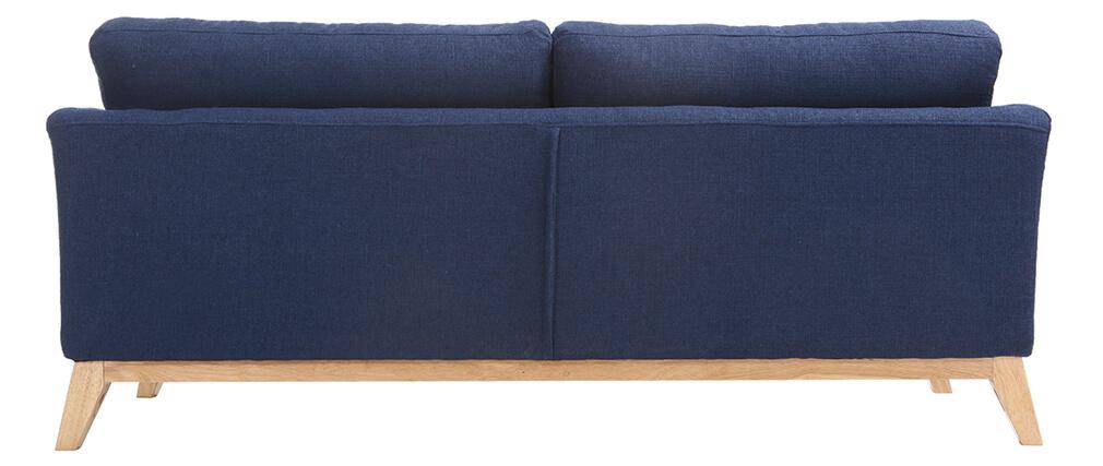 Sofá nórdico 3 plazas azul oscuro desenfundable patas madera OSLO