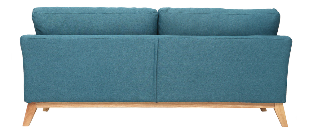 Sofá nórdico 3 plazas azul petroleo desenfundable patas madera OSLO