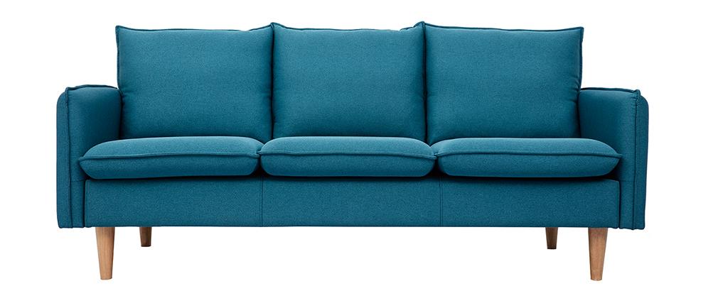 Sofá nórdico 3 plazas en tejido azul petróleo HOLMS