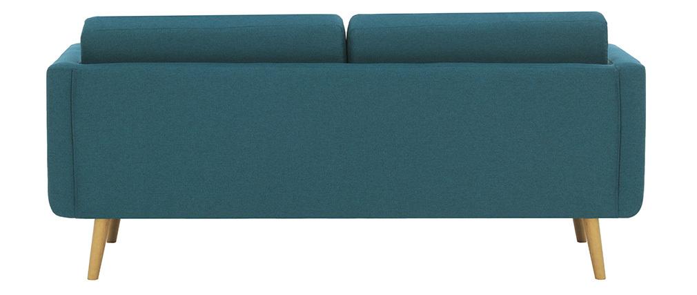 Sofá nórdico 3 plazas en tejido azul petróleo y madera ELFE