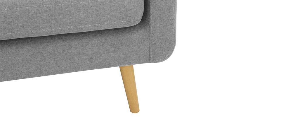 Sofá nórdico 3 plazas en tejido gria claro y madera ELFE
