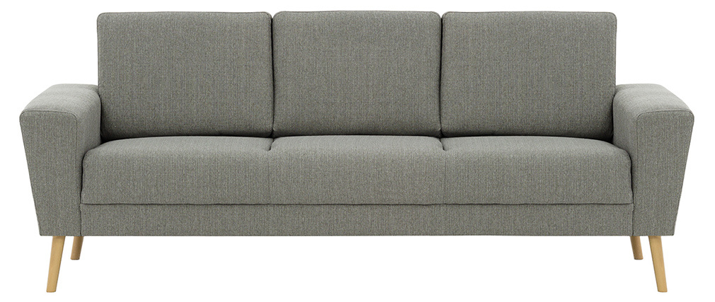 Sofá nórdico 3 plazas en tejido gris claro MOCAZ
