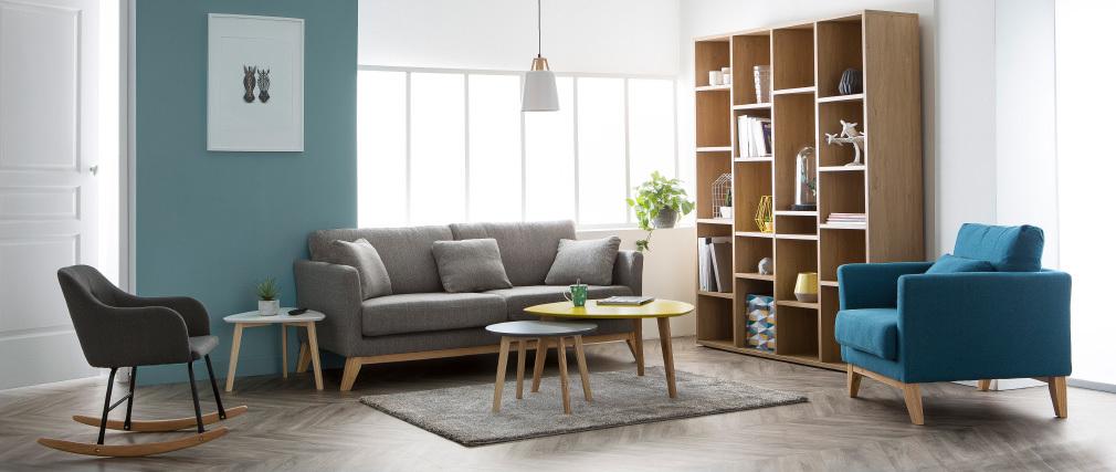 Sofá nórdico 3 plazas gris claro desenfundable patas madera OSLO