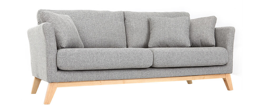 Sofá nórdico 3 plazas gris claro patas madera OSLO