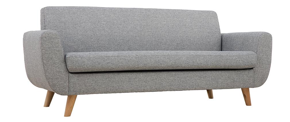 Sofá nórdico 3 plazas gris claro y madera PURE