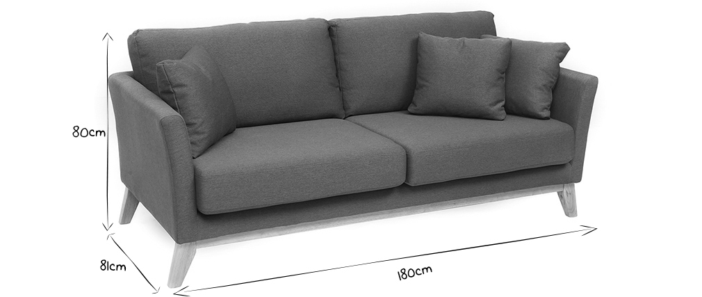 Sofá nórdico 3 plazas gris oscuro desenfundable patas madera OSLO