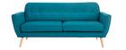 Sofá nórdico 3 plazas tejido azul petróleo KYNO