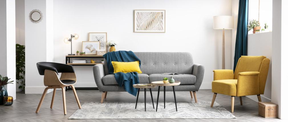 Sofá nórdico 3 plazas tejido gris claro KYNO
