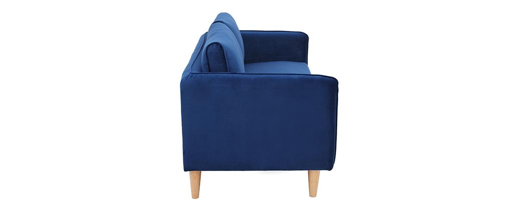 Sofá nórdico 3 plazas terciopelo azul KURT