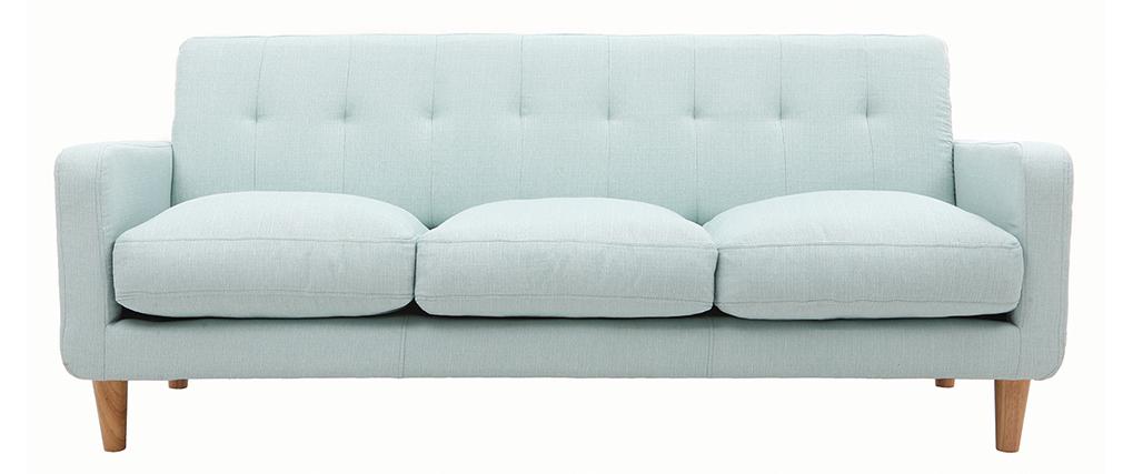Sofá nórdico tejido azul claro 3 plazas LUNA