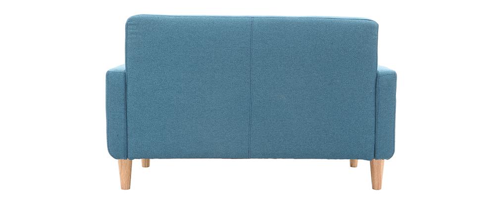 Sofá nórdico tejido azul petróleo 2 plazas LUNA