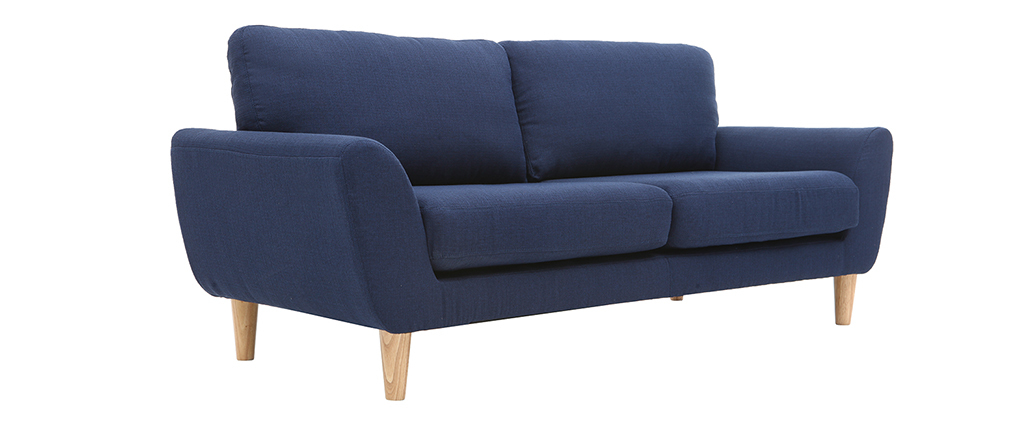 Sofá nórdico tejido gris azul oscuro 3 plazas ALICE
