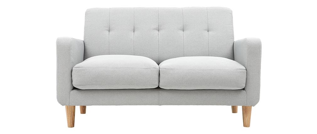Sofá nórdico tejido gris claro 2 plazas LUNA